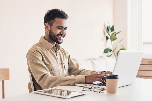 Man working from home at computer